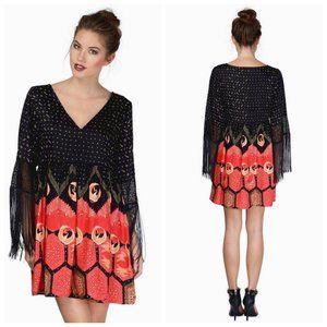 MINKPINK Boho Fringe Black/Red Babydoll Dress